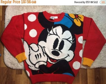 10% OFF Vintage 1980s Minnie Mouse Knit Sweater Official Mickey and Co Ladies Small Medium Red Acrylic 80s Retro Disneyana