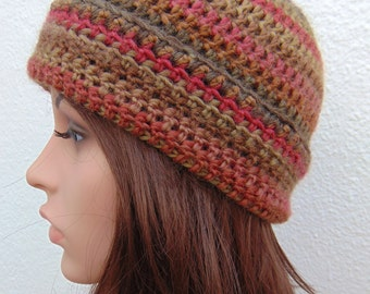 Brown Hat Beanie Hat for Women Wool Blend Crochet Hat Handmade in Ireland