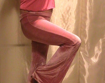 Velvet Pants for Dancers and Festivals, ATS Pants, Bellydance pants, Evening pants in Red or Pink