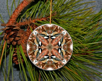 Ornament Christmas Ceramic Chickadee Bird Mandala All Occasion Sacred Geometry Kaleidoscope Boho Chic New Age Unique Mod Cheerful Chirper