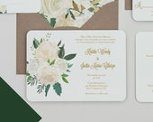 Modern Boho White Floral Wedding Invitations, Boho White and Green Wedding Invite,White Rose Wedding Invitation,Rustic Spring Wedding Invite