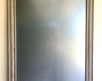 STEEL DRY ERASE Board Modern Office Rustic Gray Kitchen Bulletin Board Silver Metal Board Industrial Wall Decor Magnetic Memo Board Wood