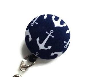 Retractable Badge Reel/Id Badge Reel/ID Badge Holder/Retractable Lanyard/Key Card Holder/Nurses Badge Holder/Lanyard/Nautical Navy White