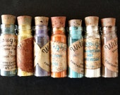 Vintage China Powder Paint in Glass Vials, Set of 7 (c.1920s) - Collectible, Curio Art Display, Willoughby's Art Paint
