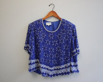 Vintage Blue beaded Silk Blouse By Odeon