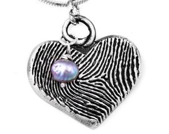 Fingerprint Heart Necklace with Pearl & Actual Handwriting on Back