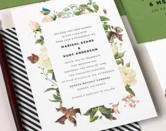 Garden Wedding Invitation, Vintage Floral Wedding Invite, Botanical Invitation, Outdoor Wedding Invite, Letterpress - Naturalist - DEPOSIT