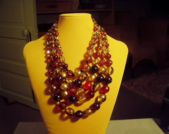 Vintage 5 Strand Large Bead Necklace From 1950s Shades of Gold Amber Clear 9032