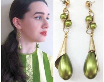 Vintage 1960s Drop Earrings in Green and Bronze / 60s Oversized Statement Dangle Earrings