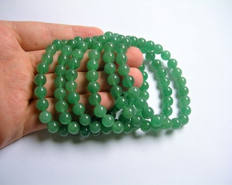 Green aventurine  - 8mm round beads - 23 beads - 1 set - A quality  - HSG57