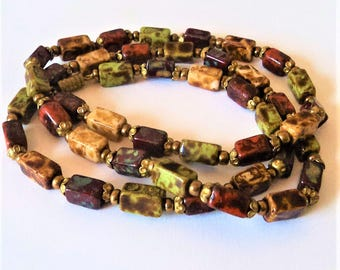 1960s Long Glass Bead Necklace... Faux Speckled Agate... Autumnal Fall Colours