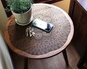 Engraved Hardwood End / Side Table or Night Stand - Geometric Modern Mid Century Design Boho Illustration