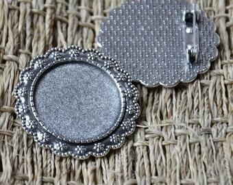 3 pcs Antique silver Flower Cabochon Base 25mm,flower Brooch Back Base, Bezel Setting Match