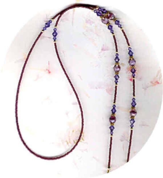 Swarovski Faceted Tanzanite Crystal & Lavender Givre Beads ID Badge Lanyard or Eyeglass Holder