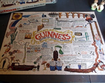 Vintage Complete 1976 Jigsaw Puzzle GUINESS Book of World Records over 550 pieces