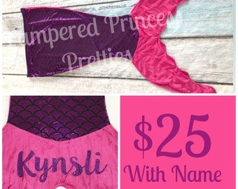 Mermaid Blanket, Monogrammed with Name, Mermaid Tail, Purple with Hot Pink Fin