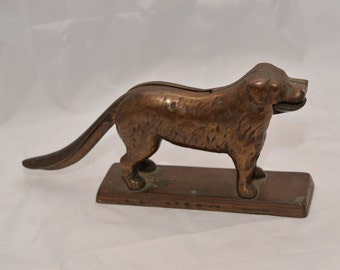 Heavy Brass or Bronze ( non magnetic) Door Stop Nut Cracker Dog St. Bernard Large Breed 13 inches 5.5 lbs Early Antique