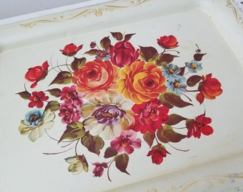 Vintage Metal Tray Cream with Tole Flowers, Large Beveled Floral Rectangle, Shabby Cottage Bohemian Decor