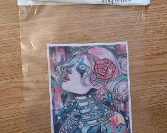 In Your Orbit  Patch - Sew On Patch Tattoo Art Space Skeleton Girl Stars Lowbrow Creepy Cute Gift