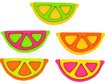 Buttons Jesse James Fruit Slices Colorful Orange Lime Green Hot Pink Yellow Shank Sewing Novelty Crafts Candy Button Set
