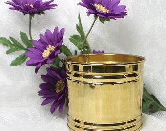 Bristol Brass Container, Brass Flower Pot or Vase, Cottage Home Decor