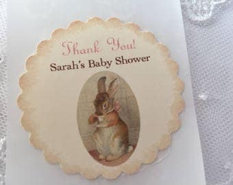 Bunny Tea Party Stickers Baby Shower Labels Birthday Envelope Seals Set of 10