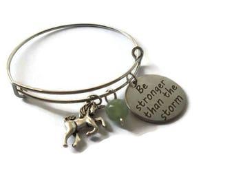 Inspiring Unicorn Bangle Bracelet   Gemstone Charm Bracelet   Adjustable Bracelet   Be stronger Than The Storm   Green Aventurine Crystal