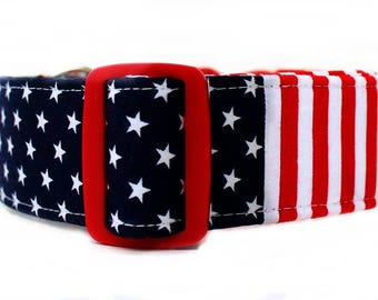 Extra Wide Stars and Stripes Dog Collar Red White and Blue Dog Collar Memorial Day Dog Collar 4th of July Dog Collar Labor Day Dog Collar
