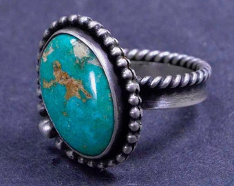Turquoise Ring - Statement Ring - Boho - Sterling Silver Ring - Metalsmith Jewelry - Size 8 1/2