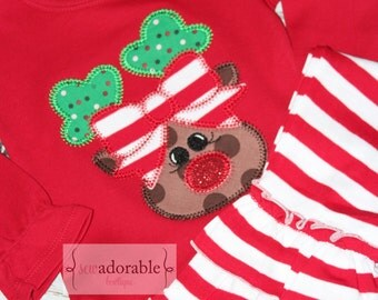 Girly Rudolph Applique Shirt with FREE PERSONALIZATION, Girls Christmas Outfit with Ruffled Pants, Christmas Shirt, Reindeer Applique