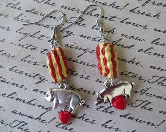 Bacon Love Dangling Charm And Bead Earrings