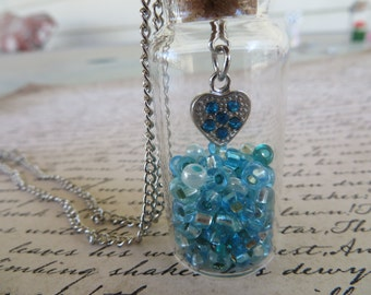 Glass Jar Pendant Necklace With Teal Beads And Silver Heart Charm