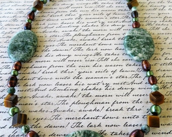 Moss Jasper Pearl And Tigers Eye Beaded Necklace