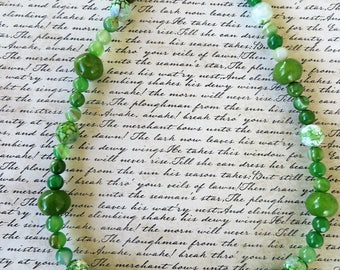 Kiwi Green Dyed Jade And Green Agate Beaded Necklace