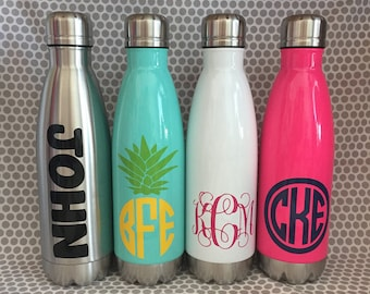 17 oz. personalized stainless steel water bottle monogram wedding bridesmaid teacher gift Kids sports