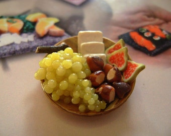 Dollshouse food 12th scale, fruit and cheese platter, miniatures food