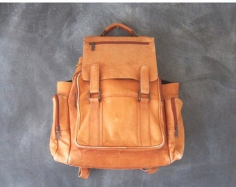 15% OFF Out Of Town SALE Large Backpack Rucksack Rugged Distressed Leather Vintage Grunge Tan Leather 1990s