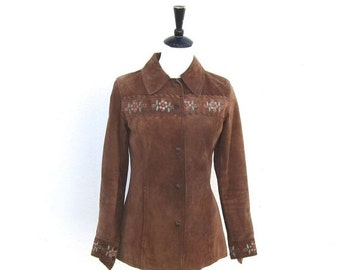 15% OFF Out Of Town SALE SALE Vintage Hand Painted Flower Brown Suede Shirt Jacket Ladies Size Xs/S