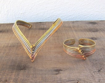 80s Brutalist Modernist Mixed Metal Choker Neck Cuff Necklace and Cuff Copper Brass Silver Deadstock
