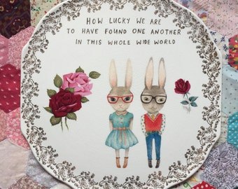 Hipster Bunnies Lucky to Find Each Other with Roses Extra Large Vintage Illustrated Plate
