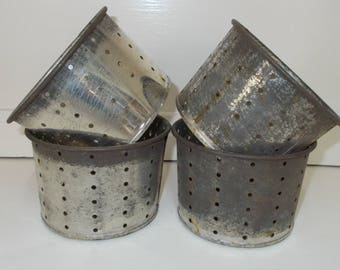 Lot of 5 Vintage French Rustic Farmhouse Cheese Moulds. Tin molds for making goat & cow cheese. Metal strainers.    (6242s)