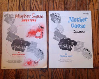 Vintage 1950's Mother Goose Sweaters Priscilla Wiley Knitting Magazine Lot Instructions Patterns