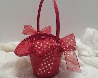 Flower Girl Basket - Red Woven Basket - Bonnet Style Basket - Red Polka Dot Ribbon and Bows