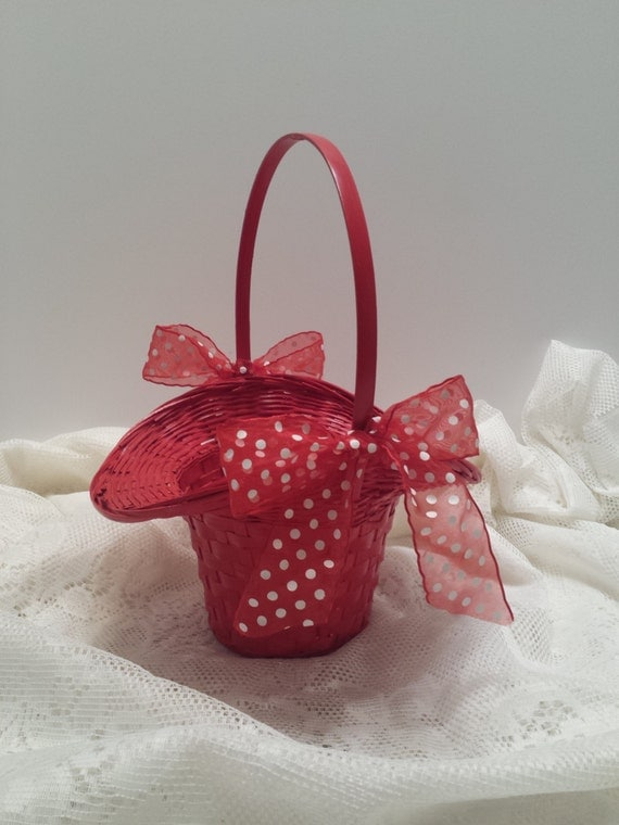 Flower Girl Basket - Red Woven Basket - Bonnet Style Basket - Red Polka Dot Ribbon and Bows
