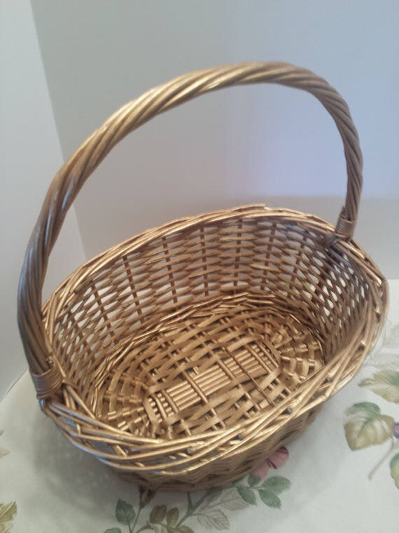 Wedding Gift Card Basket - Woven Basket in Shimmery Gold - Large Woven Basket - Gift Basket - Decor Basket - Flower Basket