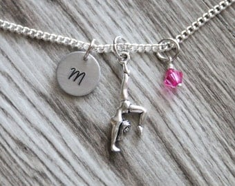 Gymnastics Gift Girl Gift Necklace,  Personalized Initial Necklace, Birthstone Charm, Customized Necklace, Gymnastic Necklace Gymnastic Gift