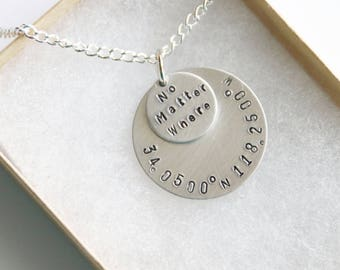 No Matter Where Necklace Coordinate Jewelry, Personalized Coordinate Jewelry, BFF Gifts Travel Necklace, Coordinate Hand Stamped