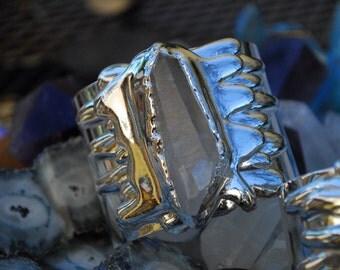 SILVER MELT CUFF  /// Crystal Gemstone Cuff /// Fine Silver Electroformed