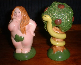 Hilariously Adorable SALT and PEPPER Shakers EVE and Snake