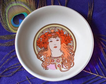 Vintage Art Nouveau Style Bowl Alphonse Mucha Poole Pottery Fleurie Sarah Bernhardt